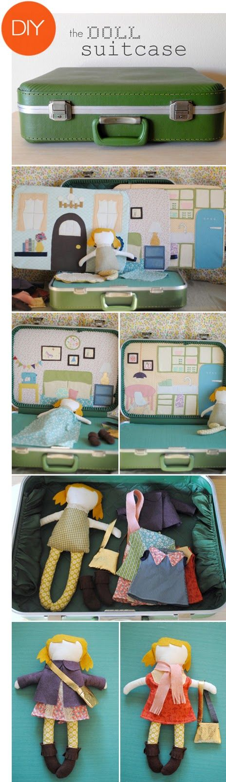 a diy doll suitcase...adorable!!!! Now I know what to do with those old suitcases I see at the flohmarkt !