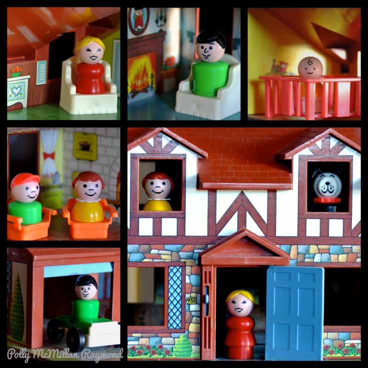 Crafty Polly - my Fisher Price Little People collection hanging in their country cottage.