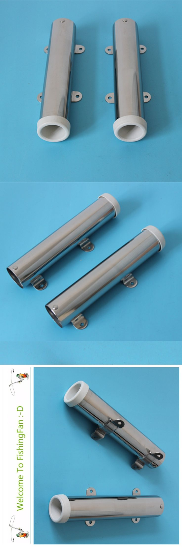"""A Pair Removable Fishing Rod Holder Stainless Steel 304 Clamp Rod Holder For Rail 1-1/2"""" Boat Sailboat Yacht"""