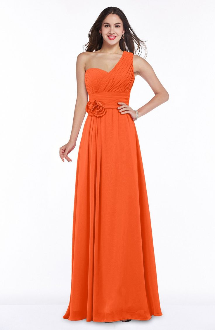 The 25 best tangerine bridesmaid dresses ideas on pinterest tangerine bridesmaid dress elegant asymmetric neckline zipper chiffon ruching ombrellifo Images