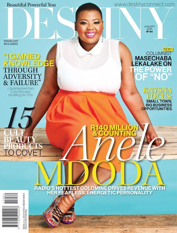 Anele Mdoda, Destiny January 2015 Cover