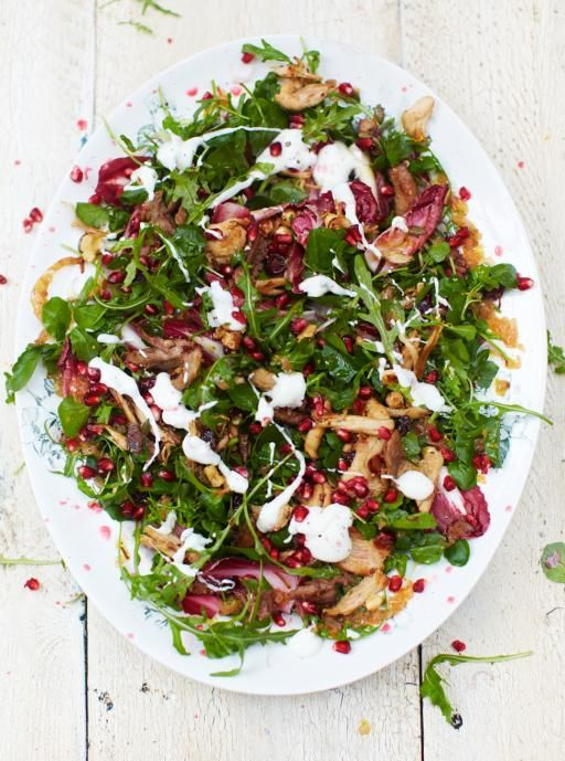 Jamie Oliver's Turkey salad with warm clementine dressing. This is good with Quorn instead of turkey to make it vegetarian.