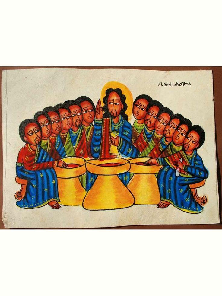 Äthiopien Original Leder Gemälde Unikat Bilder Handgemalt Letztes Abendmahl | eBay