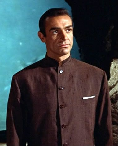 nehru jacket - based on a traditional Indian jacket that buttoned all the way to the neck and had a small. standup collar // named after the Prime Minister of India who wore the traditional jacket