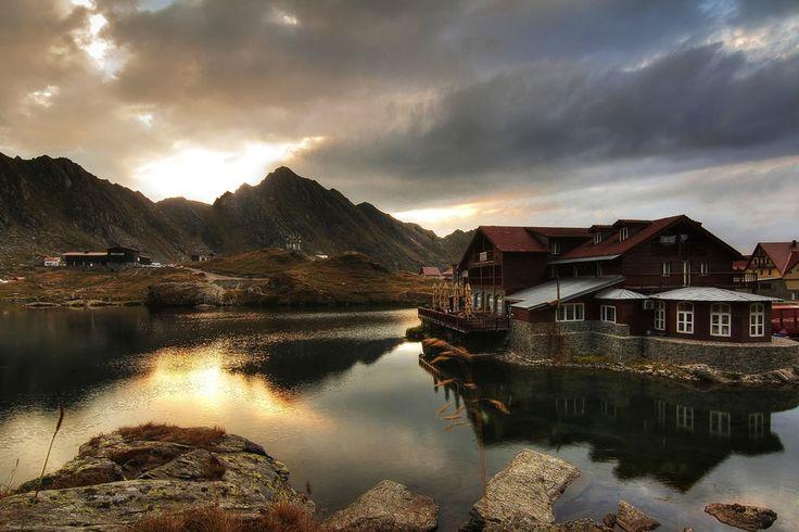 Balea Lake Transfăgărășan  Romania   Bâlea Lake (Romanian: Lacul Bâlea or Bâlea Lac, pronounced [ˈbɨle̯a]) is a glacier lake situated at 2,034 m of altitude in the Făgăraş Mountains, in central Romania, in Sibiu County.