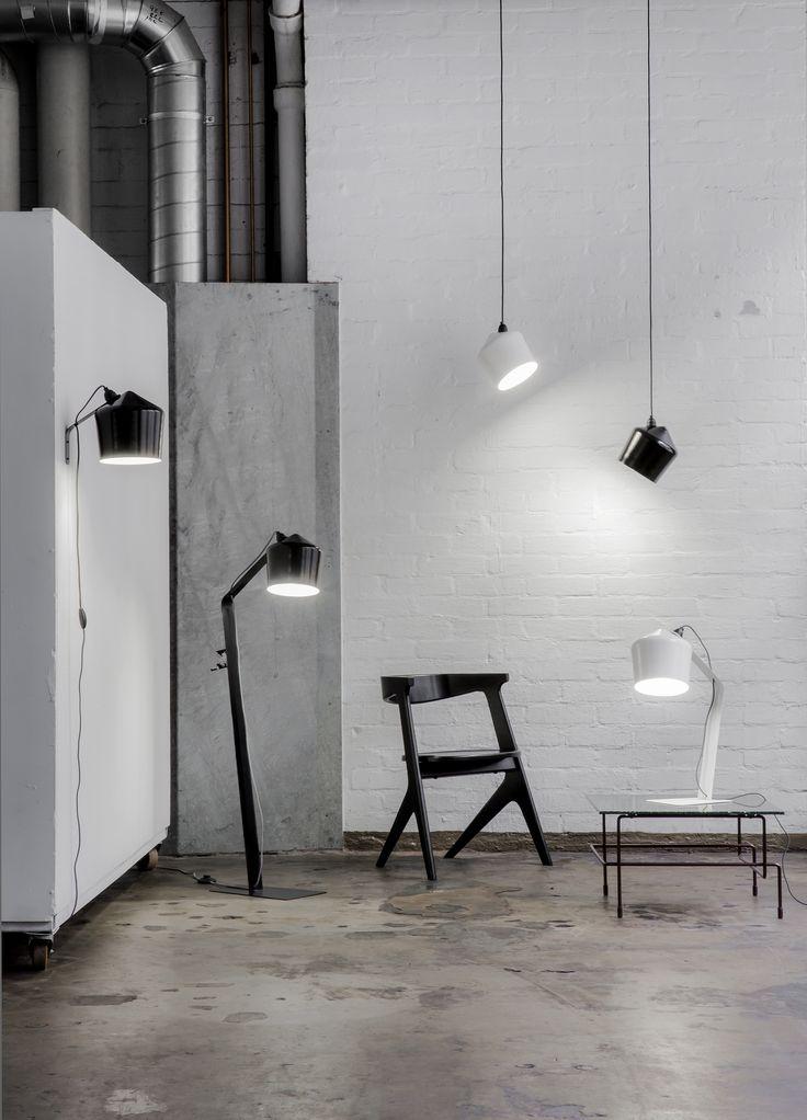 Innolux Pasila -tuoteperheen valaisimet mustana ja valkoisena. Yhdistele rohkeasti!