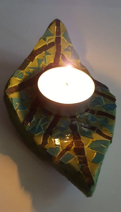 Leaf candle holder, mosaic glass