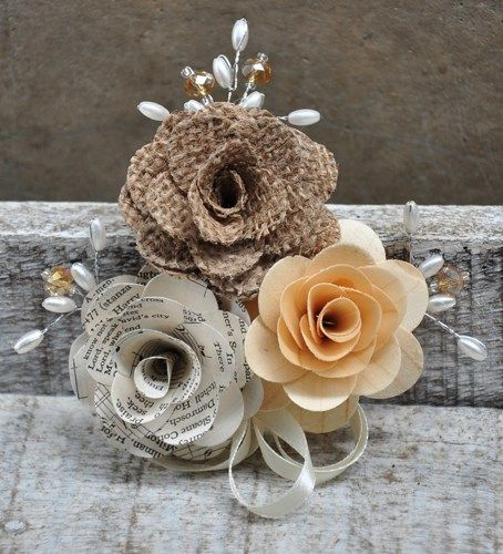 Pin-on Corsage made of Wooden rose, music sheet rose and burlap rose. With crystals, pearls and ribbons  This corsage is a custom order for a client. We can create something similar for you.  For cust