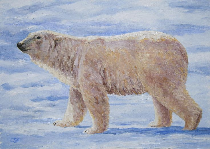 Bears Painting - Polar Bear Mini Painting by Crista Forest