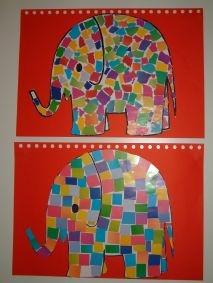 Olifant mozaiek van papier