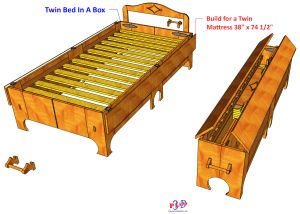 Twin Folding Bed #142   3D Woodworking Plans