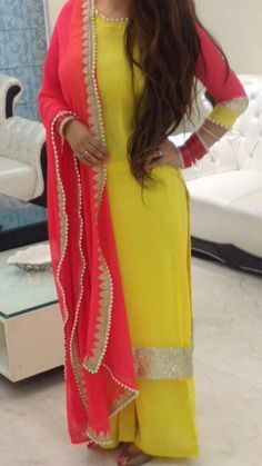 Yellow Kurta with Moti embellishments and Palazzo by Fuschion2015