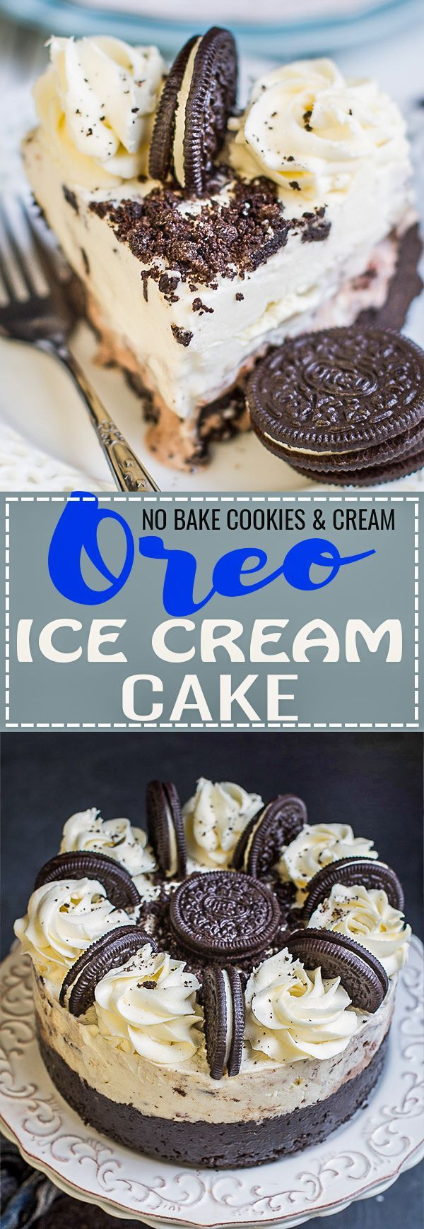 This No BAKE Oreo Cookies and Cream Cake is the perfect easy dessert recipe for all of your birthday, summer party or picnic celebrations. Best of all, it's made with two layers of vanilla and chocolate ice cream and a delicious Oreo cookie crust. You can customize it with extra toppings making it so much better than Dairy Queen!