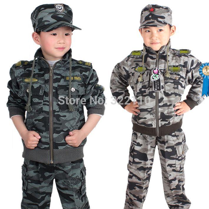 Дети костюмы спортивная одежда камуфляж одежды комплект 3 шт. комплект шапки + пальто + брюки брюки для мальчиков одежда камуфляж спортивный костюм спортивный костюм