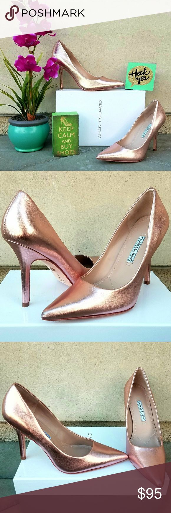 """Beautiful Charles David Stilletos in Rose Gold An immaculate single-sole pump with a pointed toe is lifted by a soaring stiletto heel for an effect that visually lenghtens the look of your leg. These are a beautiful rose gold leather.    -4"""" heel  -Leather upper, lining and sole - New with box Charles David Shoes Heels"""
