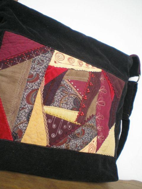 Crazy patchwork női táskán , Táska, Válltáska, oldaltáska, Meska