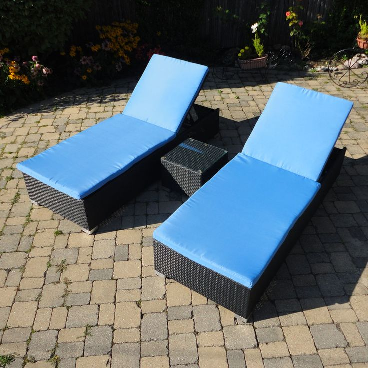 Sky Blue Cushions Look Great On This Modern Design Of Chaise Lounges.  Multiple Designs And