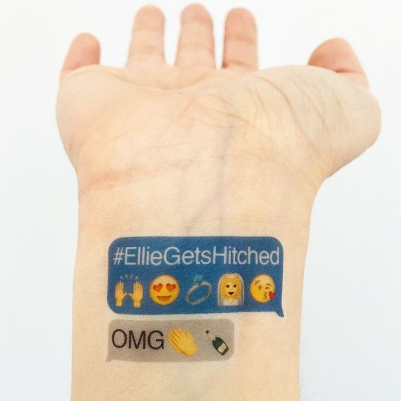** Please read instructions before ordering ** Custom Emoji Temporary Tattoos perfect for a Bachelorette Party! Wear them on your wrists and go get em girls! Packaged up super cute with a little sponge, so you can apply on the go! * Please write your hashtag and event date in the comment section during checkout. It will include the gray OMG text underneath it unless otherwise specified. * If you need to customize your FIVE emojis to something not featured in the tattoo pictured, please…