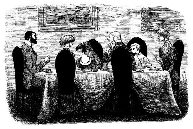 エドワード・ゴーリー『うろんな客』原画、1957年 ©2010 The Edward Gorey Charitable Trust