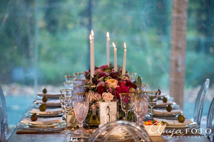 A beautiful candle-lit  table setting for guests | Aramat Events // Images by AnyaFoto Photography // www.anyafoto.com