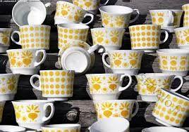 Arabia Finland yellow vintage coffee cups (Retikka, Ppp..)