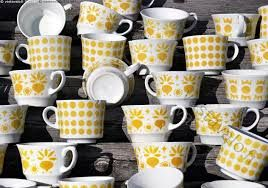 Arabia Finland yellow vintage coffee cups (Retikka, Ppp..)