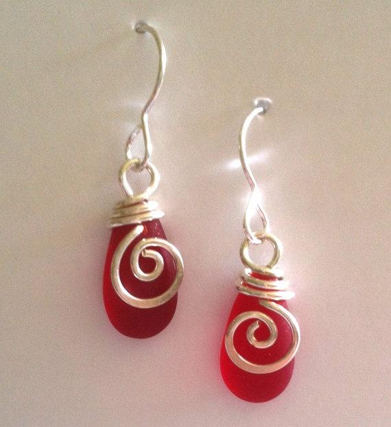 Mermaid+Tear+Drop+RED++Earrings+by+carolynrochedesigns+on+Etsy,+$24.00