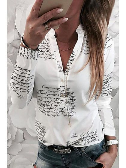 e44ec712d2a Turn Down Collar Single Breasted Letters Blouses