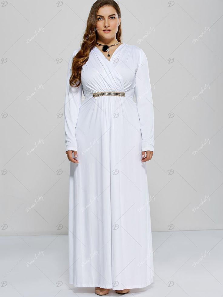 Long Sleeve Plus Size Metal Embellished Surplice Dress - WHITE 2XL
