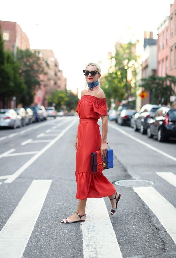 Bring your flamingo red midi to life with accessories that have a touch of blue.