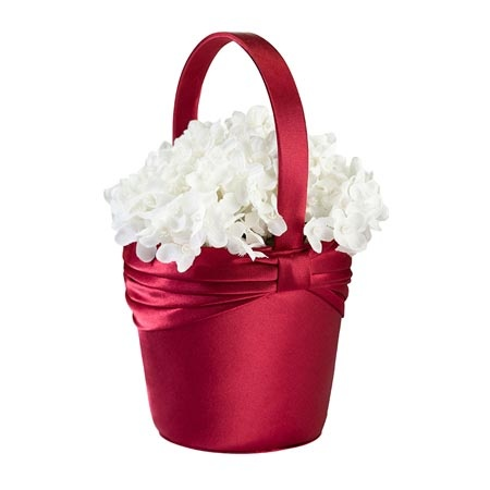 The Diamond Red Flower Girl Basket is accented with a red satin sash wrapped and knotted around its rim