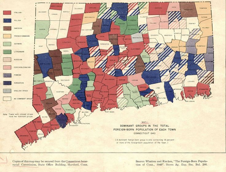 Dominant Groups in the Total Foreign-Born Population of each Town of Connecticut (1940)