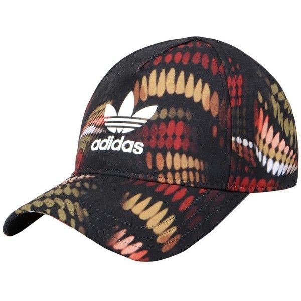 Adidas Originals By Rita Ora Hat ($27) ❤ liked on Polyvore featuring accessories, hats, black, adidas originals, pattern hats, logo baseball hats, sun visor hat and ball cap hats