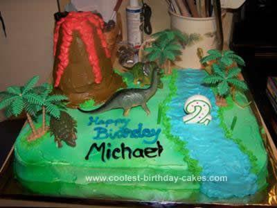 Homemade Dinosaur Scene Birthday Cake Idea Theo T Rex