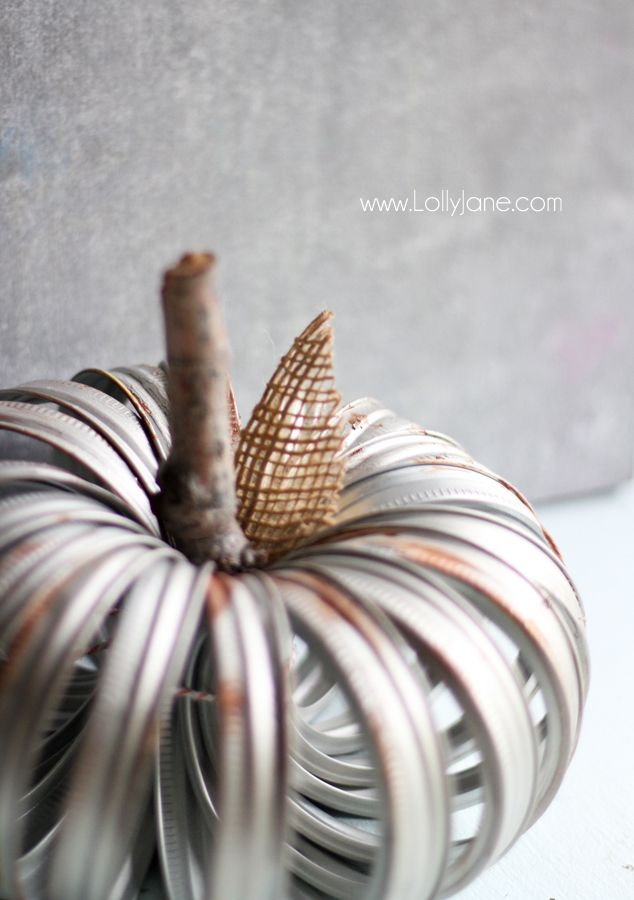 Faux aged canning ring pumpkin tutorial