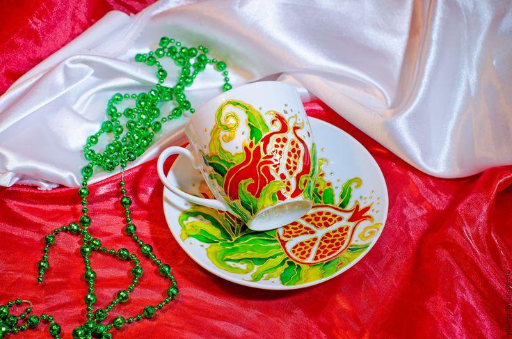 """Купить Чашка с блюдцем """"Гранат"""" - чашка с блюдцем, чашка в подарок, Витражная роспись, роспись гранат"""