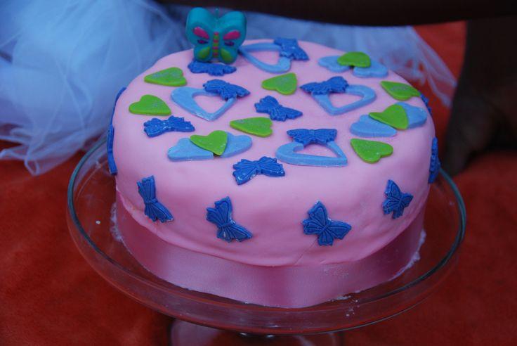 Vanilla Butterfly Fondant Birthday Cake