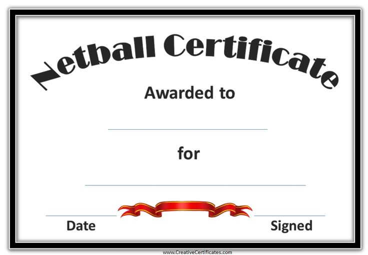 Netball certificate with a black frame and a red award ribbon netball certificate with a black frame and a red award ribbon certificates pinterest netball and certificate yadclub Image collections