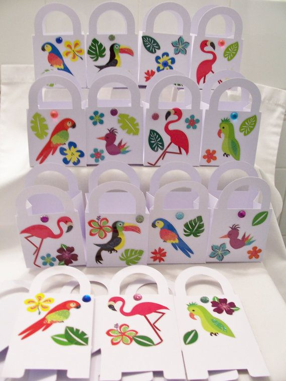 15 Tropical bird themed party favour boxes  by SparkleandComfort, $18.00