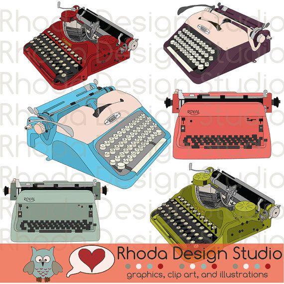 Vintage Typewriters Digital Clip Art Retro by RhodaDesignStudio