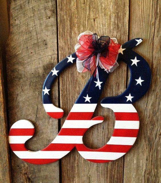 Wooden Door Hanger Patriotic Letter B by RKDragonfly on Etsy