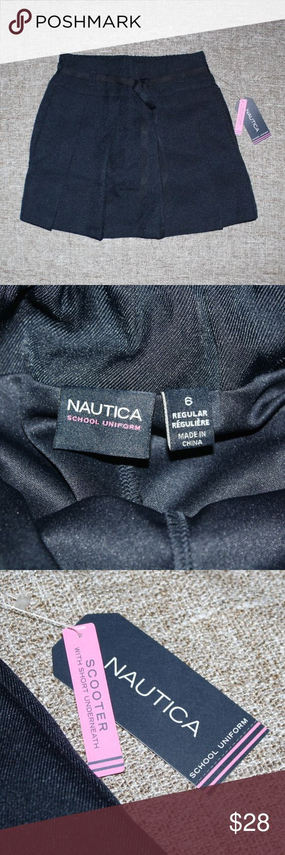 NEW! NAUTICA DARK BLUE SCOOTER SKIRT! NAUTICA SCOOTER SKIRT!  New With Tags  Retails: $28.00  Size: Girls 6  Details: -Stylish young girls skort style skirt! -School approved clothing! -Dark blue polyester material. -Elastic waistband for a good fit. -Pleated front. -Shorts attached underneath. -Waist measures approx. 11 inches across. -Waist to hem measures approx. 12.5 inches. -Inseam measures approx. 2 inches long.  *ALL ITEMS COME FROM A SMOKE-FREE & PET-FREE HOUSEHOLD!* Nautica Bottoms…