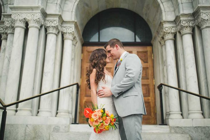 Bride and Groom Wedding Portrait | Beaded Lace Trumpet Style Wedding Dress from Isabel O'Neil Bridal Collection | Downtown Tampa Wedding Hair by Lasting Luxe | Wedding Photography by Roohi Photography