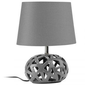 Lampe de chevet grise Nate: lampe à poser avec joli pied gris en céramique ajouré très actuel