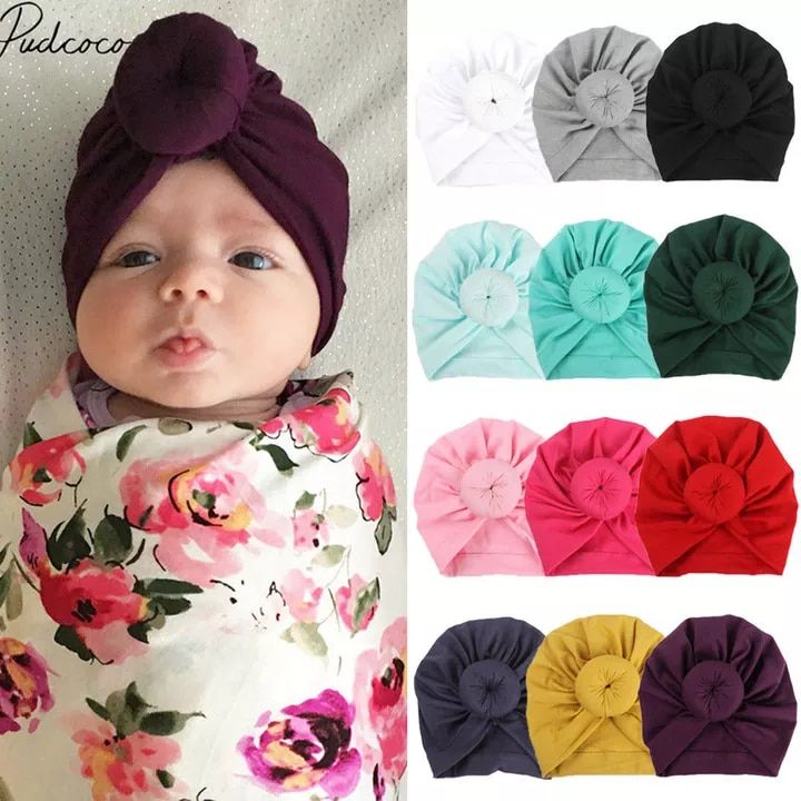 Child Toddler Kids Baby Boy Girl Turban Cotton Beanie Hat Winter Warm Cap