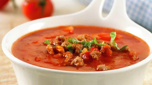 Tomatsuppe med kjøttdeig - Rask