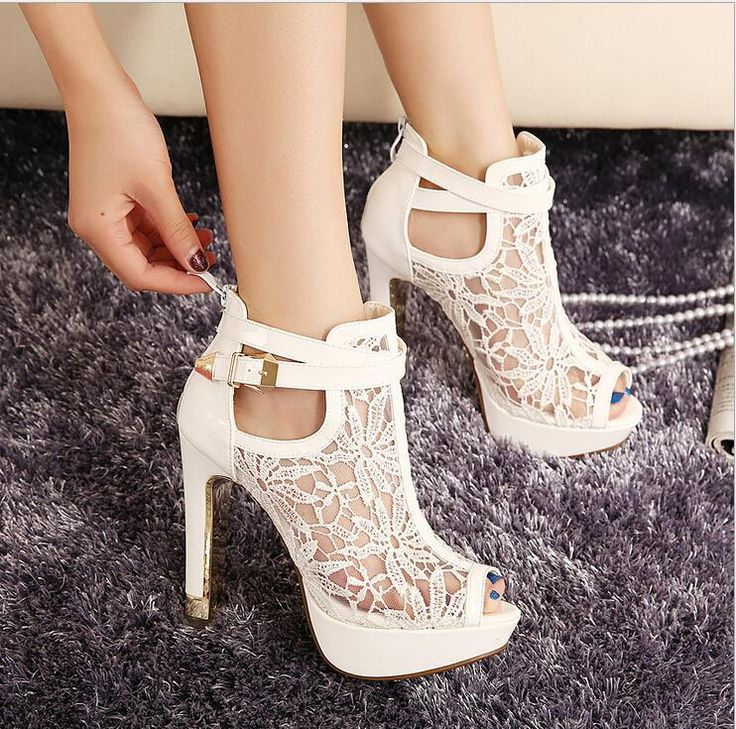 Sexy White Black Lace Hollow Out Peep Toe Ankle Boots Buckle Metal Heels Breathable Chic Wedding Shoes 2014 Size Eu 34 To 39 Ivory Kitten Heel Bridal Shoes Regis Bridal Shoes From Fashionclothingshoes, $35.18| Dhgate.Com
