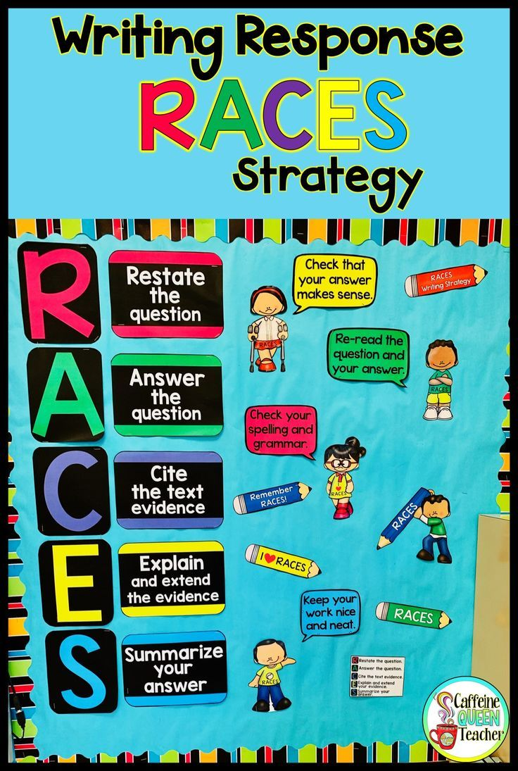 This Bulletin Board Set Is A Visual Reminder To Students To Use The Races Strategy As They Construct Answers Text Evidence Races Writing Strategy Race Writing [ 1095 x 736 Pixel ]