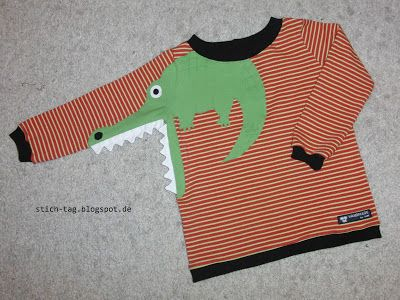 Idee: Krokodil-Applikation  Stich-Tag: Kroko-Shirt