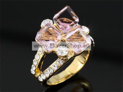 Rózsaszín Swarovski köves gyűrű 0170 -54,3mm